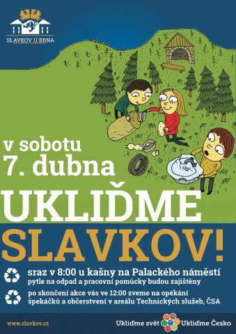 plakát Ukliďme Slavkov 7. 4. 2018
